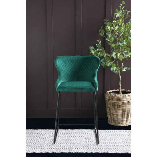Cocktail Bar Stool in Forest Green Velvet - 66cm