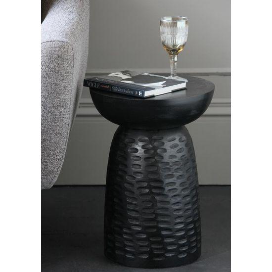 Siggy Side Table Pedestal Black Mango Wood 46cm Hallway Bedroom Lounge Bohemian Scandi