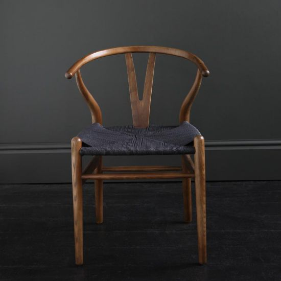 HANS WEGNER WISHBONE CHAIR, DARK OAK, BLACK PAPER COIL SEAT