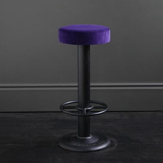Pole Bar Stool - Royal Purple Velvet - Black Base - 70