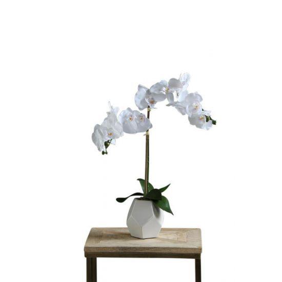 ORCHID ARTIFICIAL PLANT WHITE FLOWER WHITE POT 50 CM