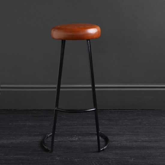 TAPAS Industrial Bar Stool Tan Seat Black base 78cm Overall Height