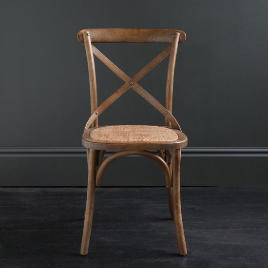 FRENCH Cross Back BENTWOOD Dining Chair, Café, Restaurant, Kitchen, DARK OAK