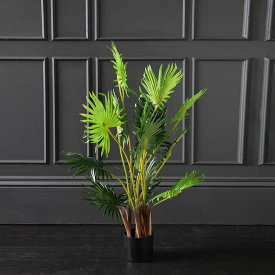 Fan Palm Artificial Plant Tree Green - Brown 95cm Black Pot Decoration Flower