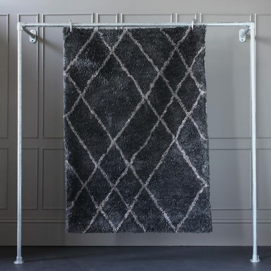 Kiko Rug Diamond Grey Polyester Table Tufted 170cm x 120cm Lounge Bedroom Scandinavian Bohemian