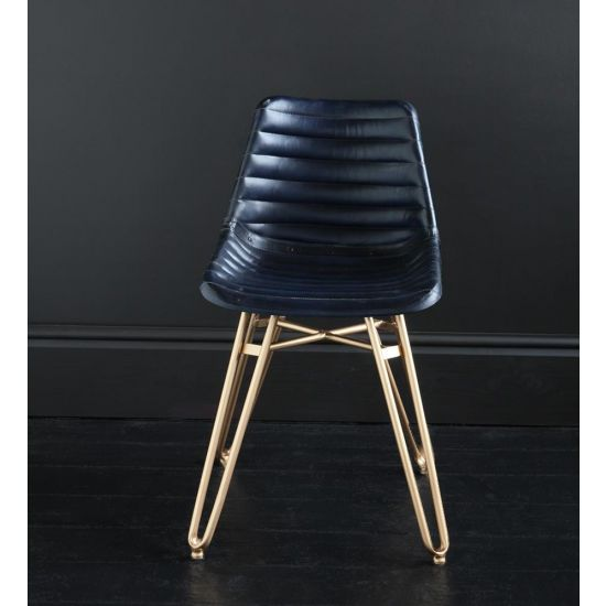 HAIRPIN DINING CHAIR WITH BLUE RIBBED ROAD HOUSE SEAT AND GOLD BASE