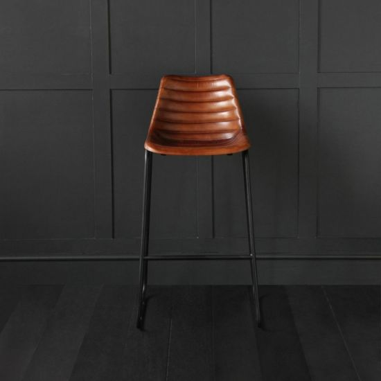 Brown Ribbed Road House Stool 75cm