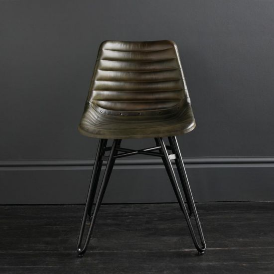 Gansevoort Dining Chair - Olive Green Ribbed - Black Base