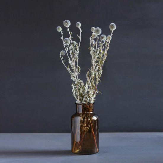 Vase Amber Orange Sprayed Glass Small Bottle 25 x 13 cm