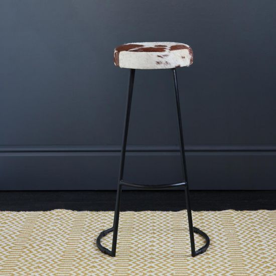 TAPAS INDUSTRIAL BAR STOOL BROWN & WHITE SEAT 78 CM BLACK BASE
