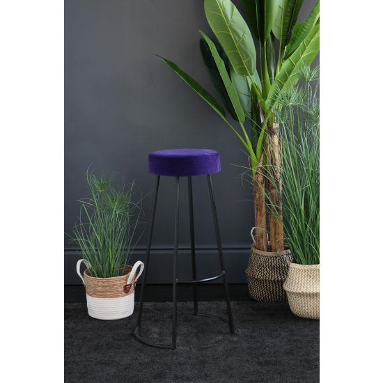 Tapas Velvet Bar Stools Stain Resistant Royal Purple Seat- Black Base - 75 cm