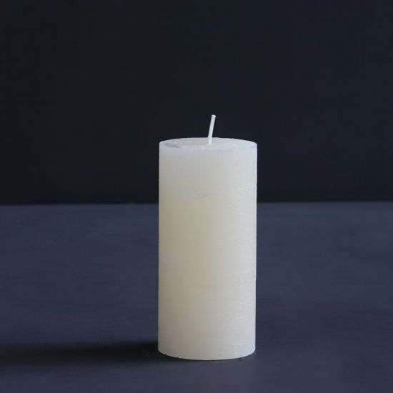 Rustic Pillar Candle Mustard Cream Paraffin Wax Candlelight Table 15 cm