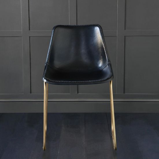 DELUXE ROAD HOUSE DINING CHAIR, GOLD BASE, BLACK SEAT