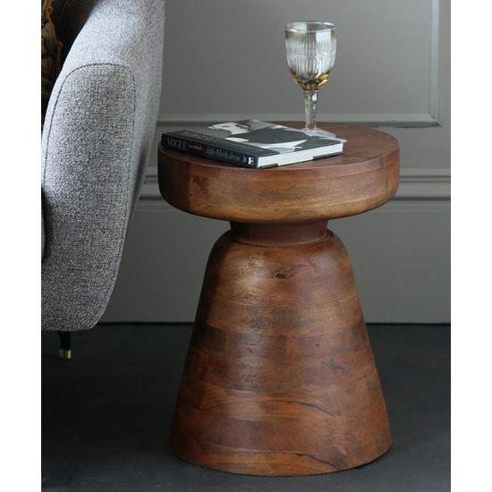 Millers Side Table Brown Mango Wood Top 46 x 36 x 36cm Lounge Antique Bohemian