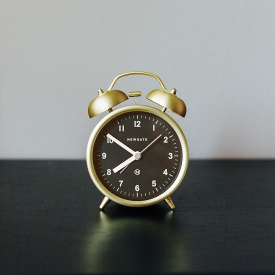 Charlie Alarm Clock Traditional Brass Black