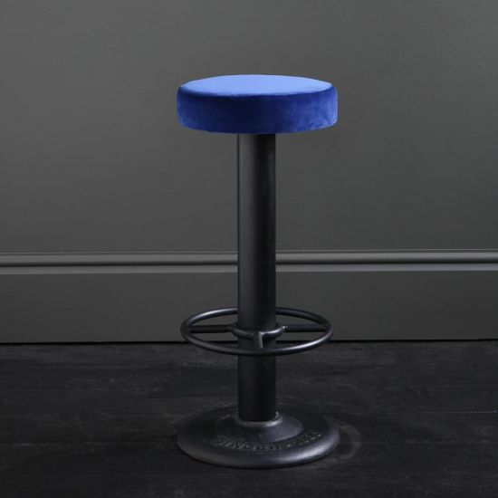Pole Singer Bar Stool - Azure Blue Velvet - Cast Iron Base - 70 cm