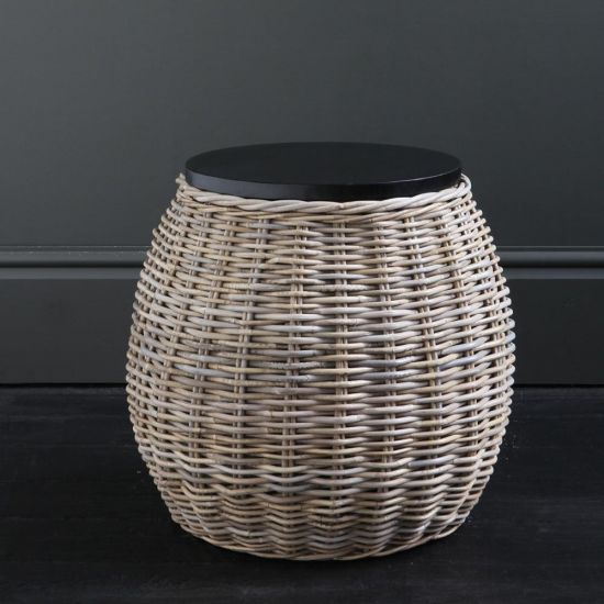 Barrel Rattan Side Table with Removable Black wood Top