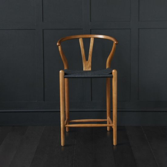 Wishbone Bar Stool Hans Wegner Style Kitchen Island Breakfast Bar Seating Dark Oak Base Black Seat 66 cm