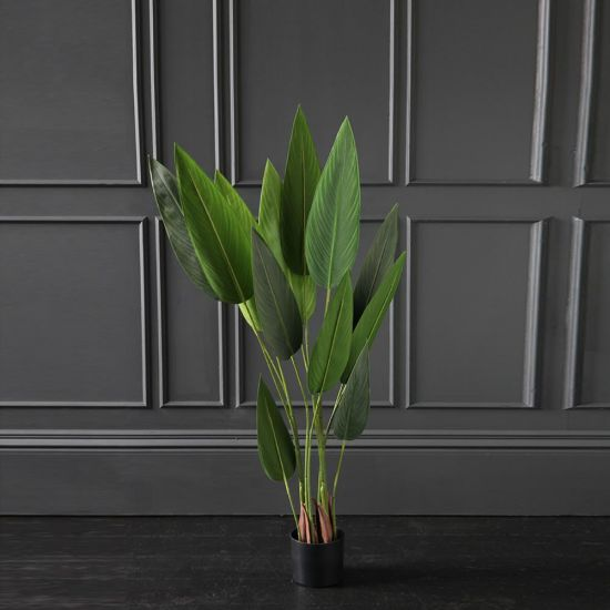 Bird of Paradise Artificial Plant Tree Green 130cm Black Pot Decoration