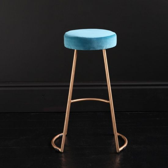Tapas Velvet Cocktail Bar Stools - Pacific Blue Velvet Seat - Gold base - 67cm