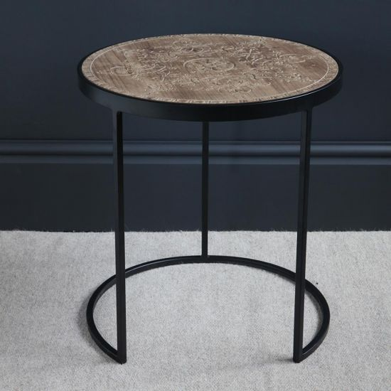 Felix Wood Top Black Iron Side Table