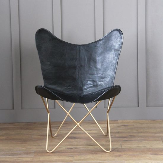 BUTTERFLY ACCENT CHAIR, GENUINE LEATHER, BLACK, GOLD BASE