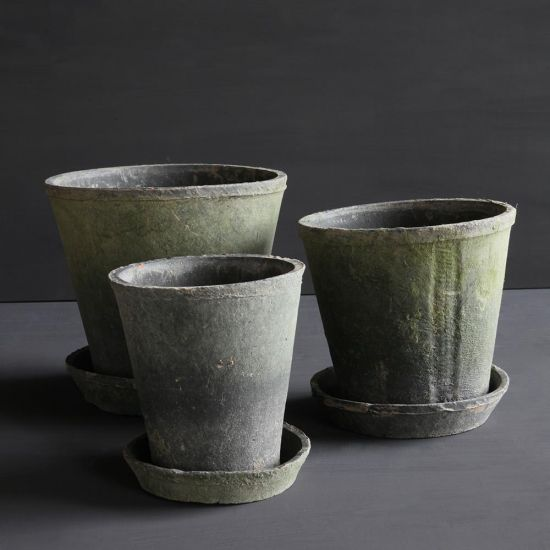 Set of 3 Small Grey Terracotta Pots for Garden Flower Holder 22 x 23 cm