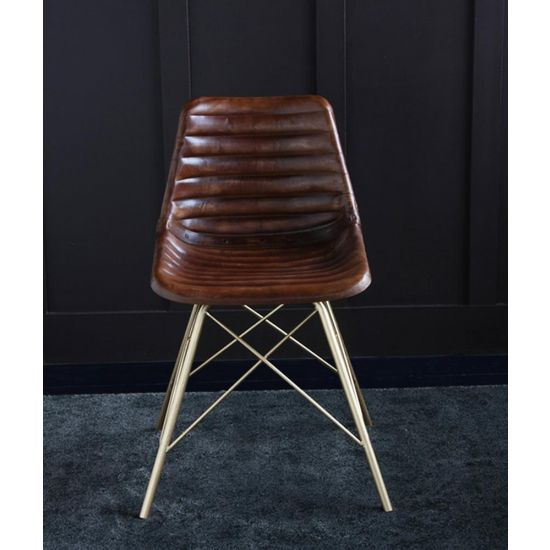 ROAD HOUSE CHAIR WITH BROWN RIBBED SEAT AND GOLD CROSS LEG