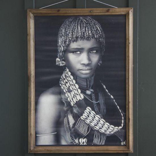 FRAMED PRINT OF MAASAI GIRL - AGED EFFECT