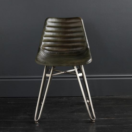Gansevoort Dining Chair - Olive Green Ribbed - Nickel Base