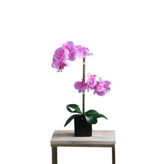 ORCHID ARTIFICIAL PLANT PINK FLOWER BLACK ETCHED POT 65 CM