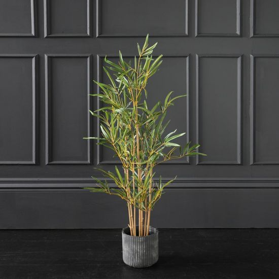 Bamboo Artificial Plant Tree Green Brown 90cm Black Pot Decoration Flower