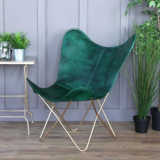 BUTTERFLY ACCENT CHAIR, GENUINE LEATHER, GREEN, GOLD BASE