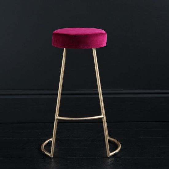 Tapas Velvet Cocktail Bar Stools - Tulip Red Velvet Seat - Gold base - 67cm