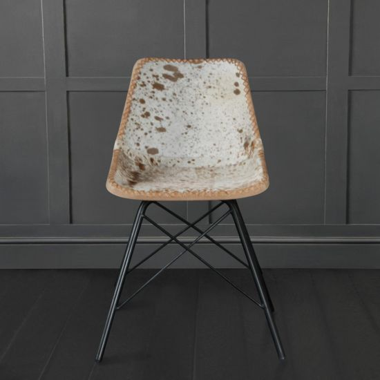 Road House Chair With Cross Legs, Brown & White Cow Hide Seat Black Base