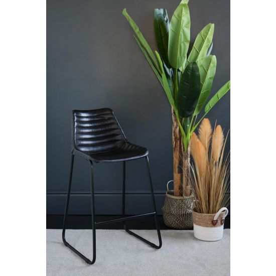 Road House Bar Stool Black Ribbed Seat Black Base 67 cm