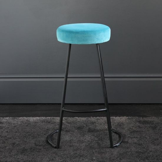 Tapas Velvet Cocktail Bar Stools - Pacific Blue Velvet Seat - Black base - 67cm