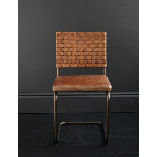 HARRISON LEATHER SLING TAN BACK CHAIR WITH PLATED BACK REST