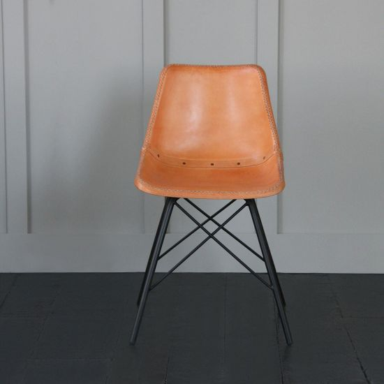 Road house chair with Honey Seat and Black Cross Legs