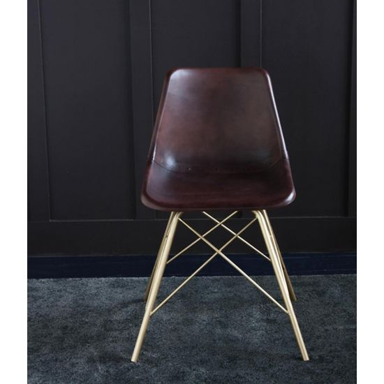 ROAD HOUSE CHAIR WITH TOBBACO SEAT AND GOLD CROSS LEG