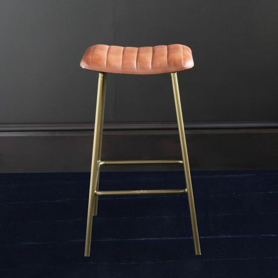 THE ENFIELD BAR STOOL WITH TAN BUFFALO UPHOLSTERED SEAT GOLD COLOURED METAL BASE, 66 CM SEAT HEIGHT