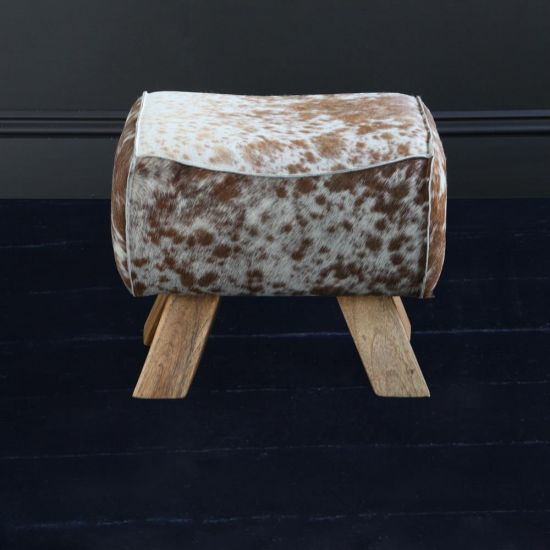 Pommel Horse Low Stool - Brown & White Cow / Natural