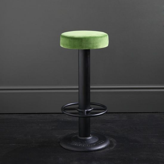 Pole Singer Bar Stool - Grass Green Velvet - Cast Iron Base - 70 cm