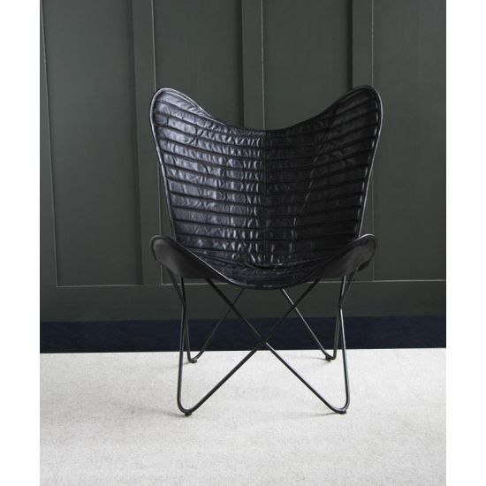 BUTTERFLY ACCENT CHAIR, GENUINE LEATHER, BLACK RIBBED/BLACK,