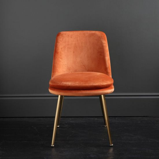 The Chelsea – Velvet Dining Chair – In Cadmium Orange