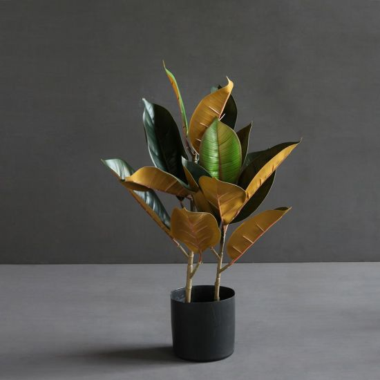 Two Tone Rubber Artificial Plant Green Brown Black Pot Decoration 53 cm