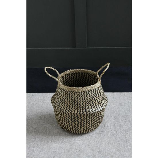 Seagrass ZigZag Belly Basket Wickerwork 30 cm