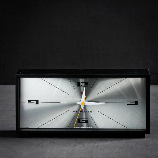 Mantel Desk Clock Rectangle Acrylic Mid Century Black Sliver 28 x 13.4 cm