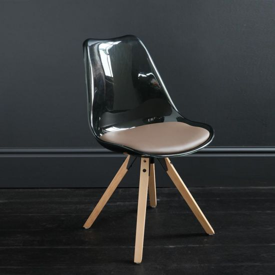 : Jamie Dining Chair Black Resin Seat Natural Wood Base Scandinavian Nordic Seating