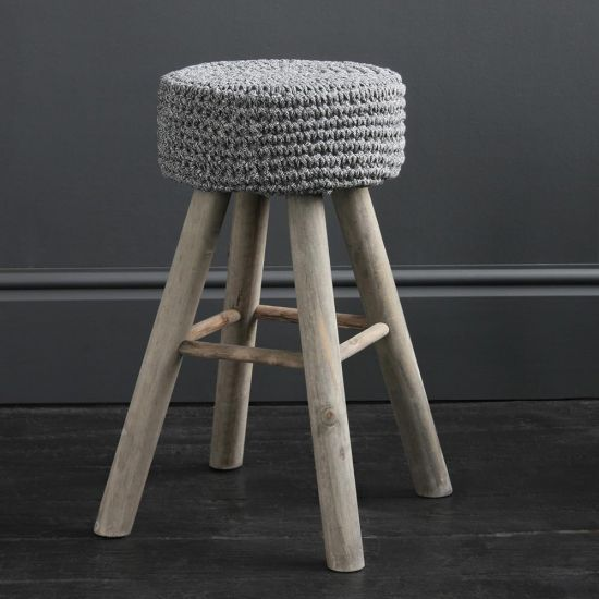 Eryk Cotton Top Bar Stool - Rope Seat - 60